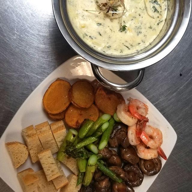 Seafood Spinach & Artichoke Fondue